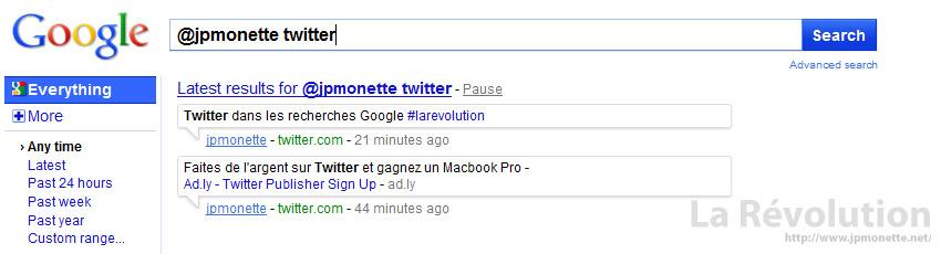 Twitter dans les recherches Google