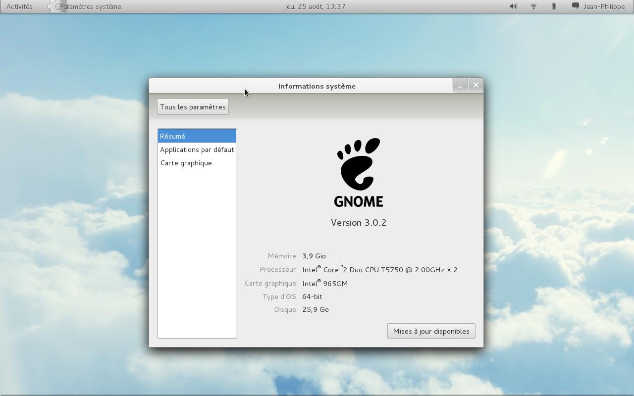 Capture d'écran de Arch Linux avec GNOME 3