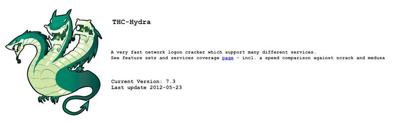 Capture d'écran du site Web de THC-Hydra