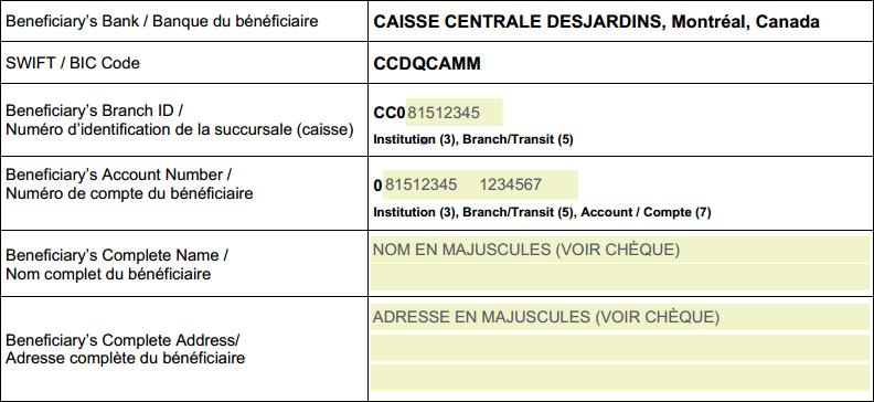 Instructions pour recevoir un transfert de fonds - Desjardins