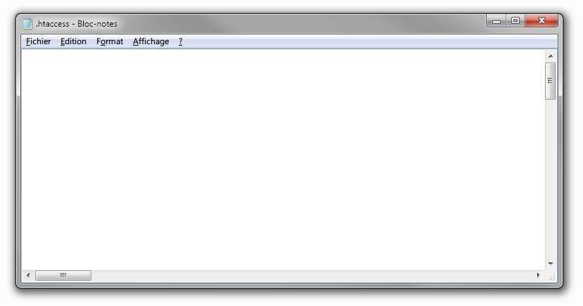 Aperçu du .htaccess dans Notepad, sur Windows